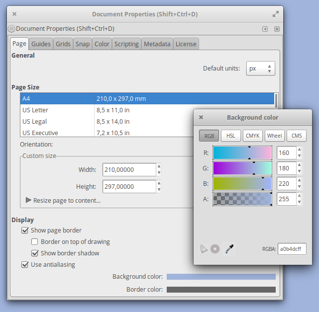 Setting a background color in Inkscape