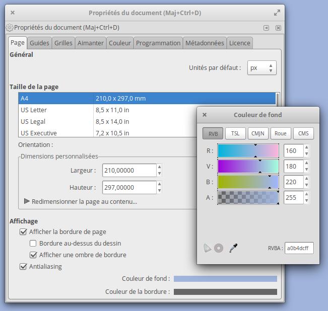 Comment définir une couleur de fond dans Inkscape