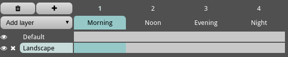 Select layer Landscape for frame 1