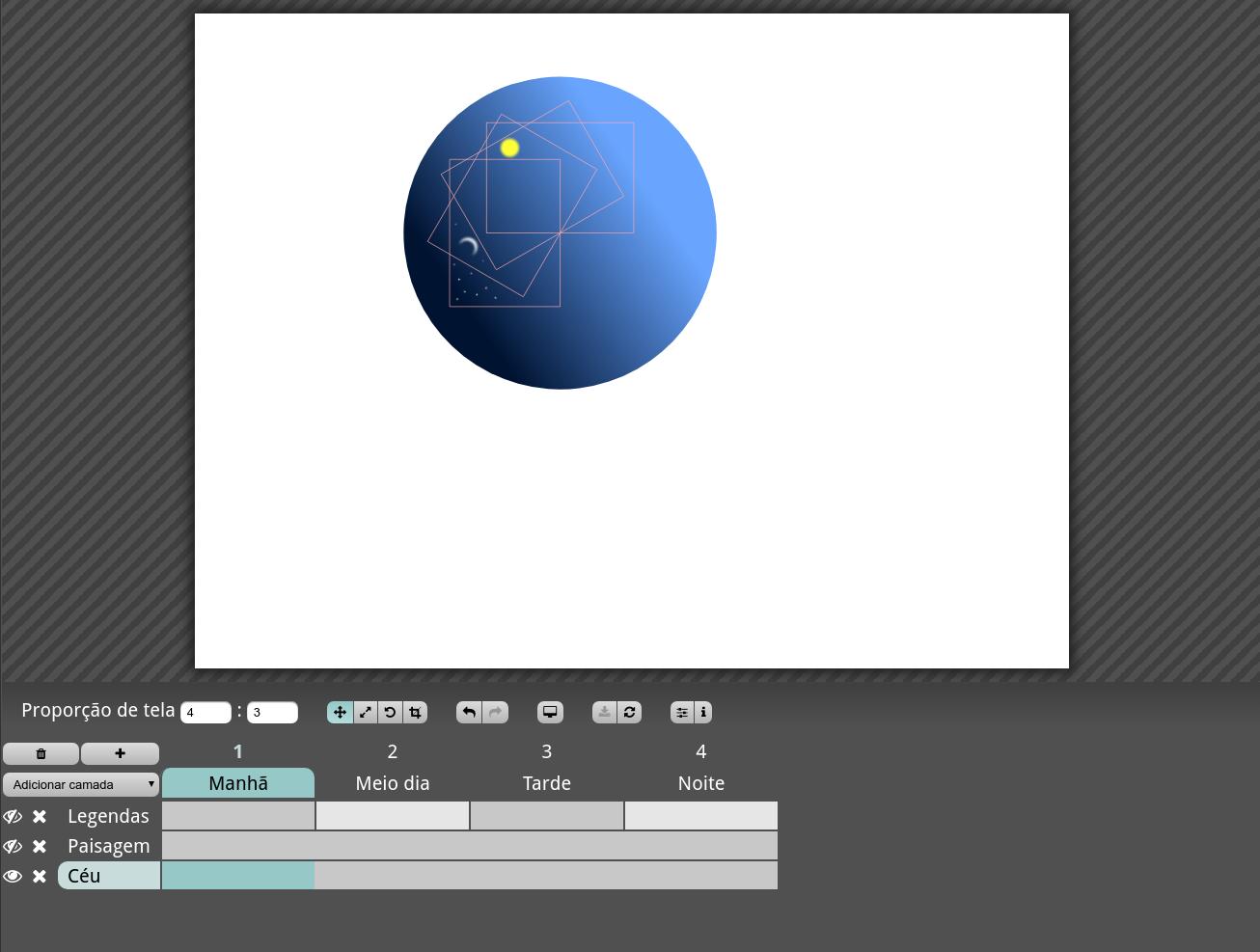 Select layer Legendas for frame 1